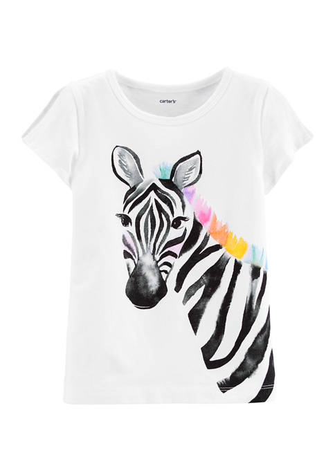 Carter's® Toddler Girls Zebra Split Shoulder Jersey Graphic