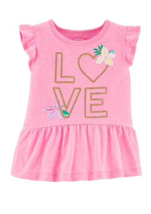 Carter's® Toddler Girls Glitter Love Peplum Graphic Top