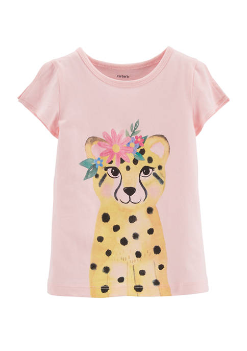 Carter's® Toddler Girls Floral Leopard Split Shoulder Graphic
