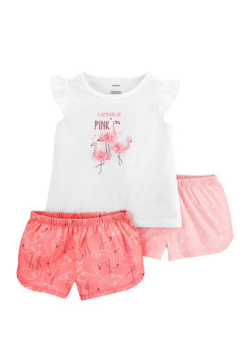Carter's® Toddler Girls 3 Piece Flamingo Polyester Pajamas