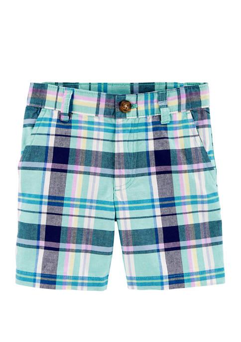 Carter's® Toddler Boys Plaid Flat Front Shorts