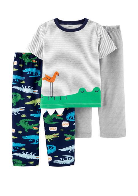 Carter's® Toddler Boys 3 Piece Alligator Polyester Pajamas