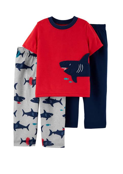 Carter's® Toddler Boys 3 Piece Shark Polyester Pajama