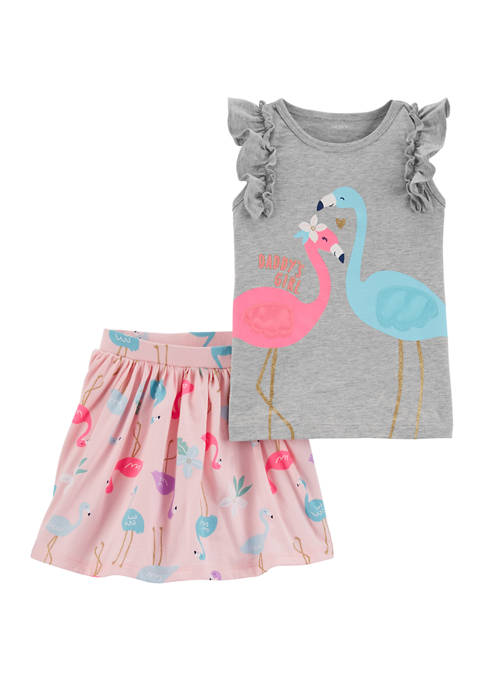 Carter's® Toddler Girls 2 Piece Flamingo Flutter T-Shirt