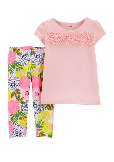 Carter's® Toddler Girls 2 Piece Smocked Jersey T-Shirt