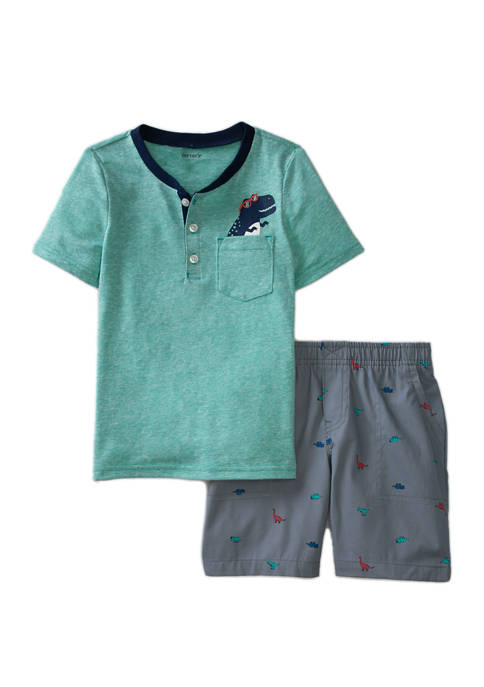 Toddler Boys Knit Top Embroidered Shorts Set