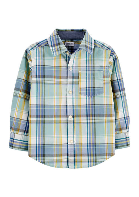 Carter's® Baby Boys Plaid Poplin Button-Front Shirt
