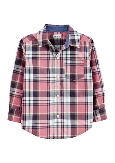 Carter's® Toddler Boys Plaid Poplin Button-Front Shirt