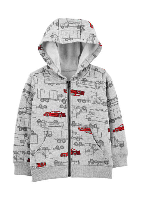 Carter's® Toddler Boys Vehicle Print Zip-Up Fleece-Lined Hoodie