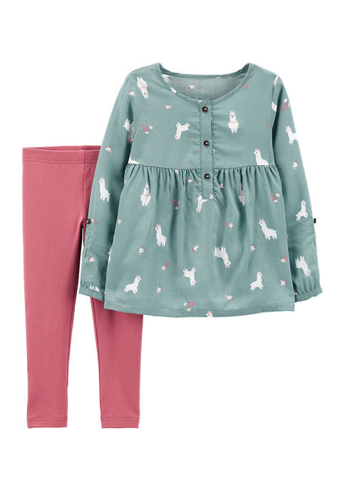 Toddler Girls 2 Piece Llama Top and Leggings Set