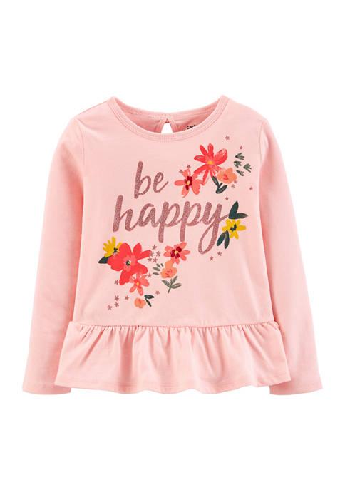 Toddler Girls Be Happy Peplum Hem Shirt