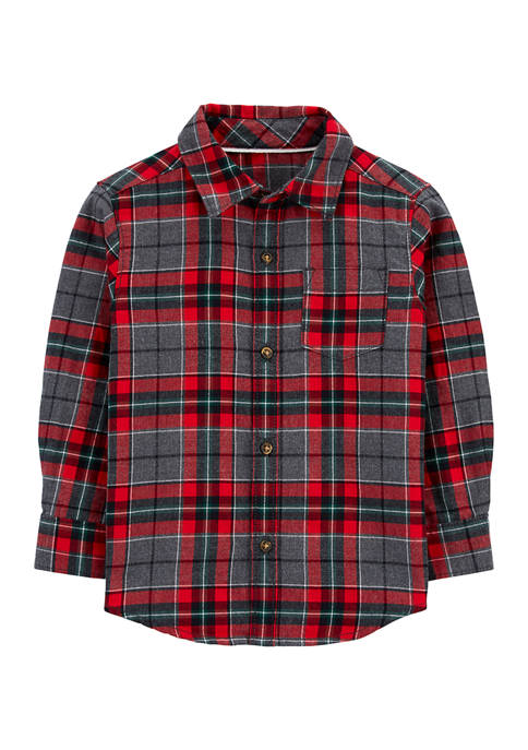 Carter's® Toddler Boys Plaid Twill Button Front Shirt