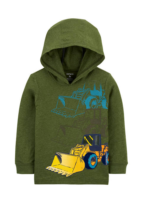 Toddler Boys Construction Hooded Jersey Graphic T-Shirt
