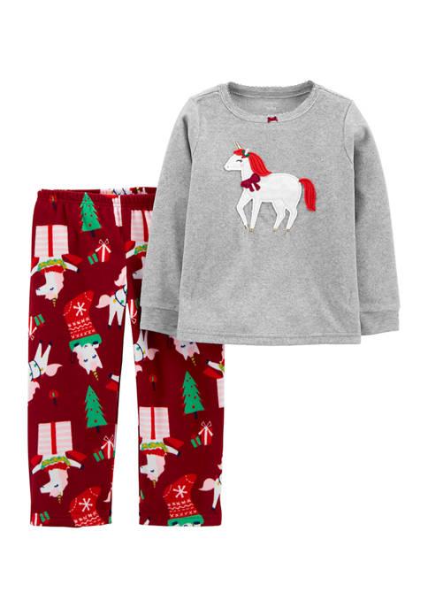 Carter's® Toddler Boys 2-Piece Unicorn Christmas Fleece Pajamas