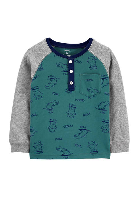 Toddler Boys Green Monster and Dino Henley Shirt