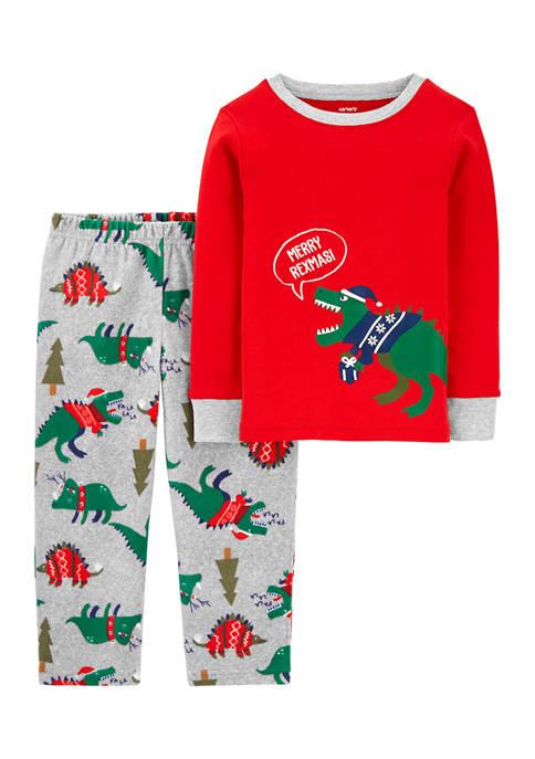 Carter's® Toddler Boys 2-Piece Dinosaur Christmas Fleece Pajamas