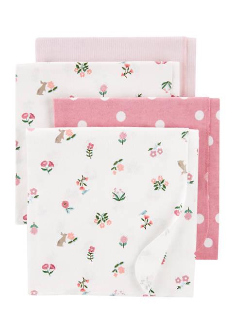 Baby Girls 4 Pack Receiving Blankets