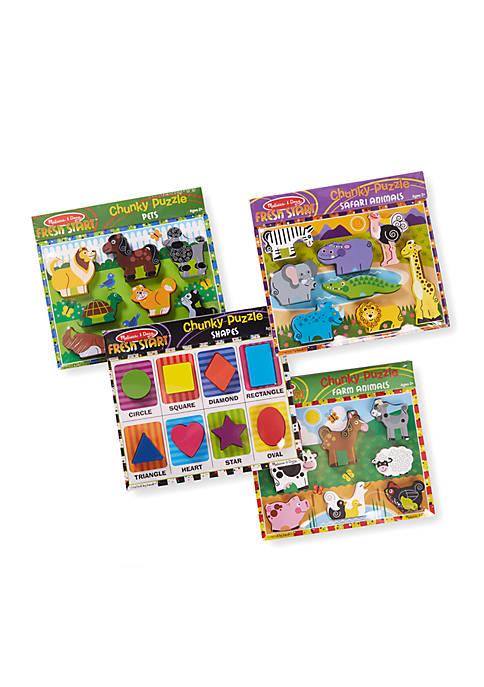 Melissa & Doug® Chunky Puzzles Bundle (Farm, Pets,