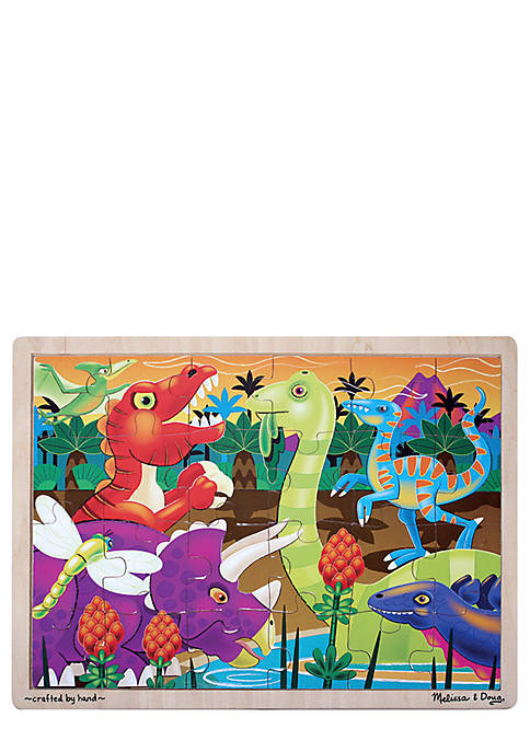 24-Piece Prehistoric Sunset Dinosaurs Jigsaw Puzzle - Online Only