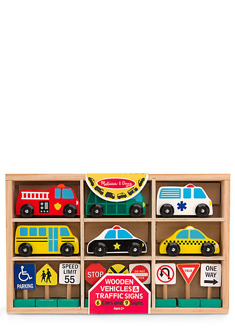 Wooden Vehicles and Traffic Signs Play Set - Online Only