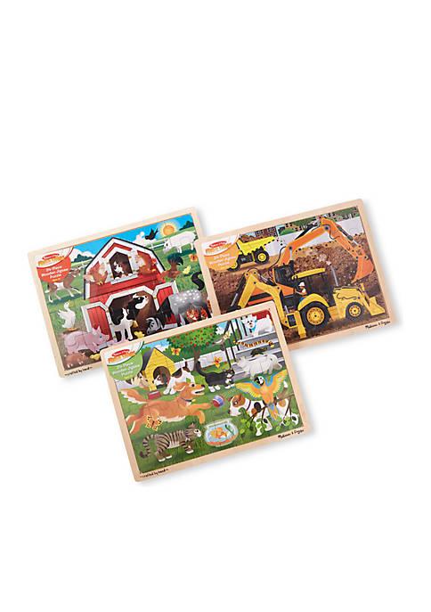 Melissa & Doug® Bundle Farm Construction Pets Jigsaw
