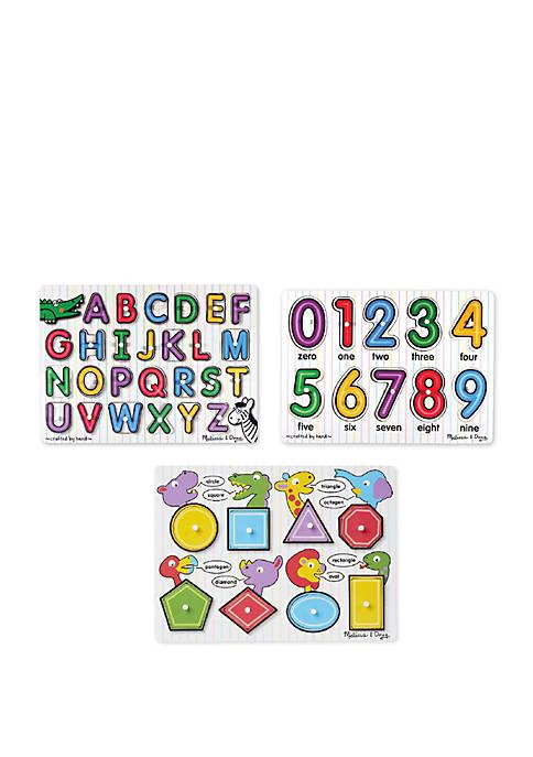 Melissa & Doug® Peg Puzzle Bundle- Alphabet, Shapes,