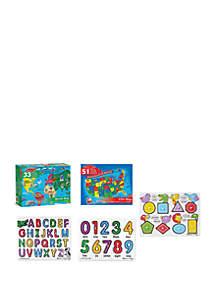 Melissa & Doug® Maps & ABC, 123- Peg Puzzle Bundle