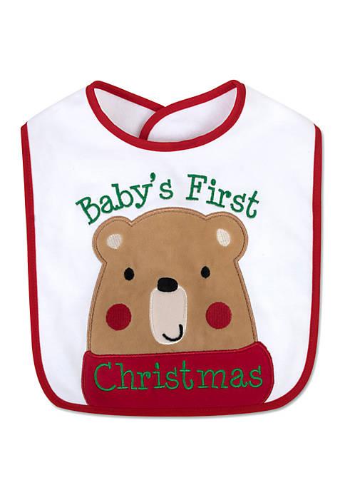 Lightning Bug Babys First Christmas Bear Bib