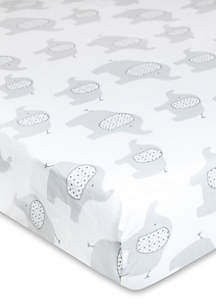 Elephant Print Fitted Crib Sheet