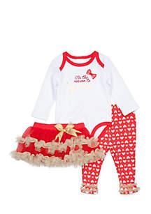 'Sparkle' Bodysuit, Heart Print Leggings, and Tutu 3-Piece Set