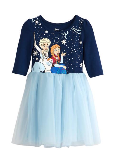 Toddler Girls Long Sleeve Dress with Mesh Skirt