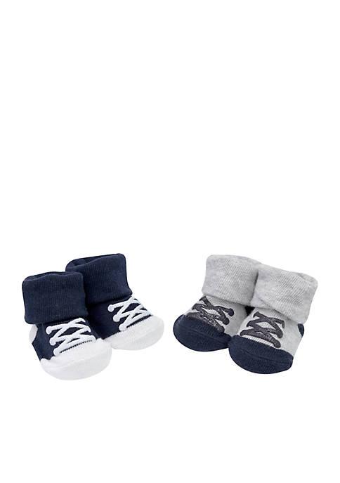 Boys Infant Sneaker Print Booties