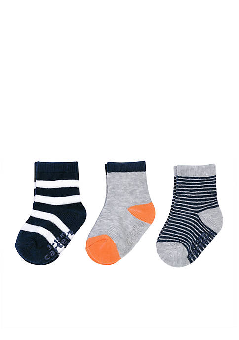 Carter's® Boys Infant 3-Pack Striped Non-Skid Socks