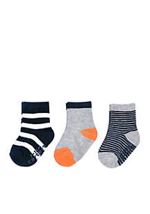 Boys Infant 3-Pack Striped Non-Skid Socks
