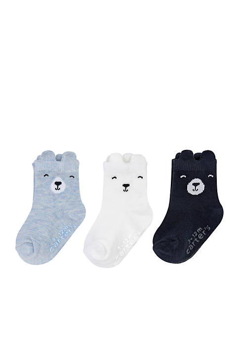 Carter's® Boys Infant 3-Pack Bear Non-Skid Socks
