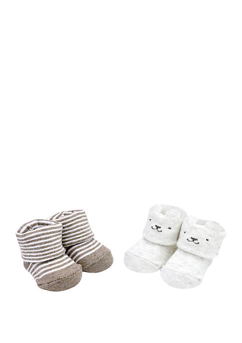 Baby Boys 2 Pack Keepsake Stripe Booties