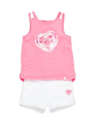 7e0ebd09b8985 Lucky Brand 2-Piece Tie Dye Heart Tank Top and Short Set Toddler ...