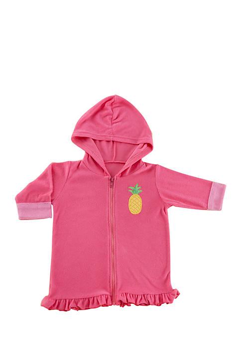 Baby Aspen™ Tropical Pineapple Hooded Beach Zip Up