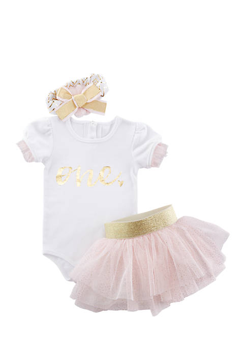 Baby Aspen™ My First Birthday 3-Piece Tutu Outfit