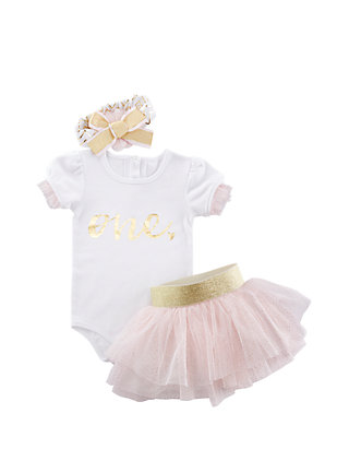 9c9c04ec9 Baby Aspen™ My First Birthday 3-Piece Tutu Outfit Set | belk