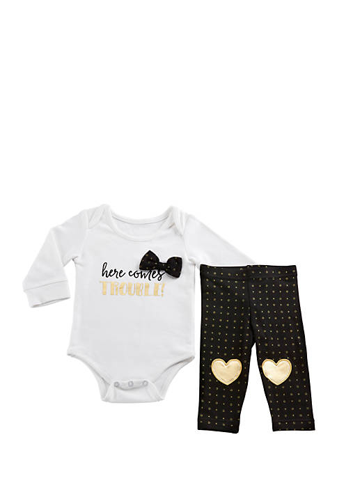 Baby Aspen™ Trendy Baby Here Comes Trouble 2-Piece