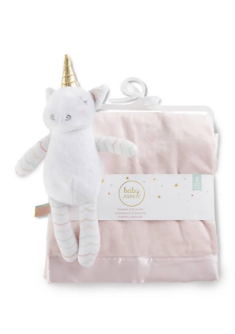 Baby Aspen™ Baby Girls Unicorn Plush Plus Blanket
