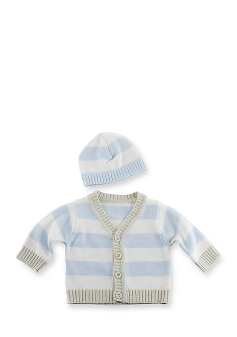 Baby Aspen™ Blue Stripe Cardigan And Cap Set
