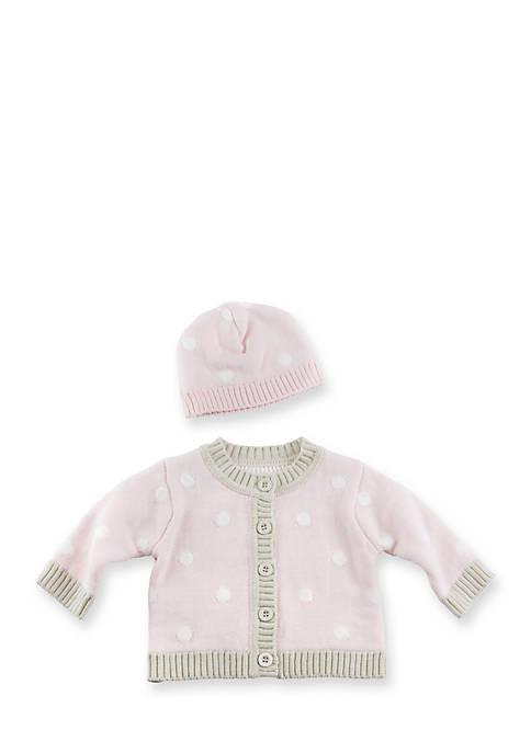Baby Aspen™ Pink Polka Dot Cardigan and Cap