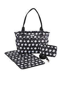 Baby Aspen 360 Signature Diaper Bag - Black and White Floral