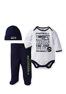Seattle Seahawks 3-Piece Bodysuit, Pant and Cap Set