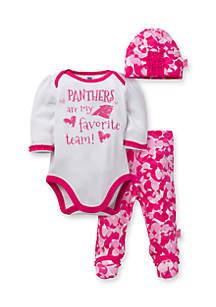 Carolina Panthers Girls 3-Piece Bodysuit, Footed Pant and Cap Set
