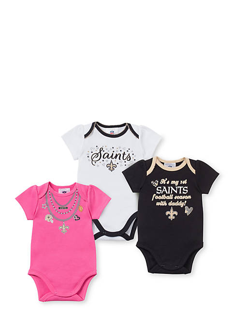 Gerber New Orleans Saints Girls 3-Pack Bodysuit Set