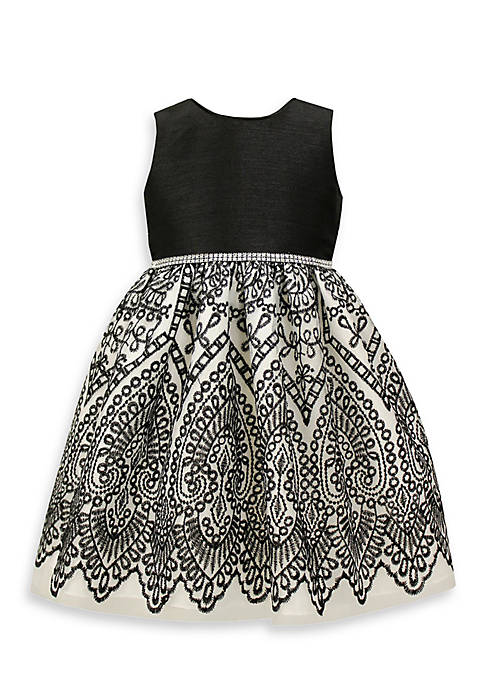 Jayne Copeland Black and White Embroidered Dress-Toddler Girls