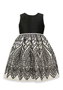 Black and White Embroidered Dress-Toddler Girls